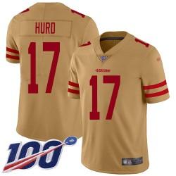Limited Men's Jalen Hurd Gold Jersey - #17 Football San Francisco 49ers 100th Season Inverted Legend