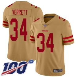 Limited Men's Jason Verrett Gold Jersey - #34 Football San Francisco 49ers 100th Season Inverted Legend