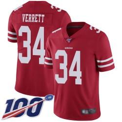 Limited Men's Jason Verrett Red Home Jersey - #34 Football San Francisco 49ers 100th Season Vapor Untouchable