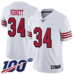 Limited Men's Jason Verrett White Jersey - #34 Football San Francisco 49ers 100th Season Rush Vapor Untouchable