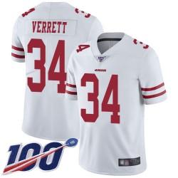 Limited Men's Jason Verrett White Road Jersey - #34 Football San Francisco 49ers 100th Season Vapor Untouchable
