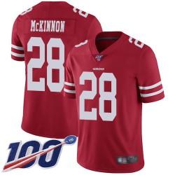 Limited Men's Jerick McKinnon Red Home Jersey - #28 Football San Francisco 49ers 100th Season Vapor Untouchable