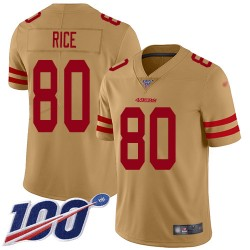 Limited Men's Jerry Rice Gold Jersey - #80 Football San Francisco 49ers 100th Season Inverted Legend