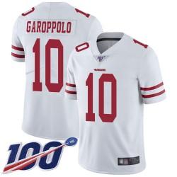 Limited Men's Jimmy Garoppolo White Road Jersey - #10 Football San Francisco 49ers 100th Season Vapor Untouchable