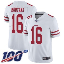 Limited Men's Joe Montana White Road Jersey - #16 Football San Francisco 49ers 100th Season Vapor Untouchable
