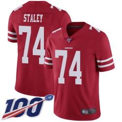 Limited Men's Joe Staley Red Home Jersey - #74 Football San Francisco 49ers 100th Season Vapor Untouchable