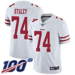 Limited Men's Joe Staley White Road Jersey - #74 Football San Francisco 49ers 100th Season Vapor Untouchable