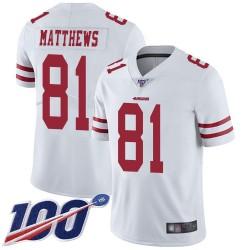 Limited Men's Jordan Matthews White Road Jersey - #81 Football San Francisco 49ers 100th Season Vapor Untouchable