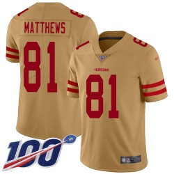 Limited Men's Jordan Matthews Gold Jersey - #81 Football San Francisco 49ers 100th Season Inverted Legend