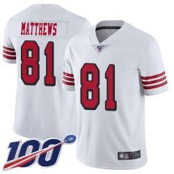 Limited Men's Jordan Matthews White Jersey - #81 Football San Francisco 49ers 100th Season Rush Vapor Untouchable