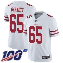 Limited Men's Joshua Garnett White Road Jersey - #65 Football San Francisco 49ers 100th Season Vapor Untouchable
