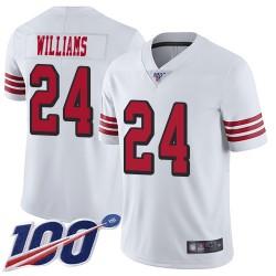 Limited Men's K'Waun Williams White Jersey - #24 Football San Francisco 49ers 100th Season Rush Vapor Untouchable