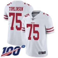 Limited Men's Laken Tomlinson White Road Jersey - #75 Football San Francisco 49ers 100th Season Vapor Untouchable