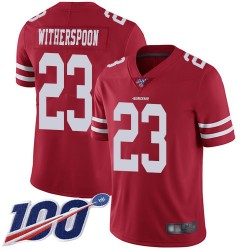 Limited Men's Ahkello Witherspoon Red Home Jersey - #23 Football San Francisco 49ers 100th Season Vapor Untouchable