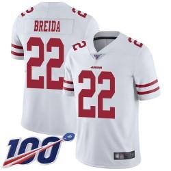 Limited Men's Matt Breida White Road Jersey - #22 Football San Francisco 49ers 100th Season Vapor Untouchable