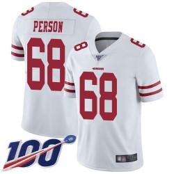 Limited Men's Mike Person White Road Jersey - #68 Football San Francisco 49ers 100th Season Vapor Untouchable