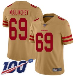 Limited Men's Mike McGlinchey Gold Jersey - #69 Football San Francisco 49ers 100th Season Inverted Legend