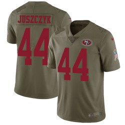 Limited Men's Kyle Juszczyk Olive Jersey - #44 Football San Francisco 49ers 2017 Salute to Service