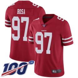 Limited Men's Nick Bosa Red Home Jersey - #97 Football San Francisco 49ers 100th Season Vapor Untouchable