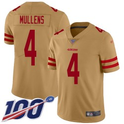 Limited Men's Nick Mullens Gold Jersey - #4 Football San Francisco 49ers 100th Season Inverted Legend