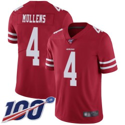 Limited Men's Nick Mullens Red Home Jersey - #4 Football San Francisco 49ers 100th Season Vapor Untouchable