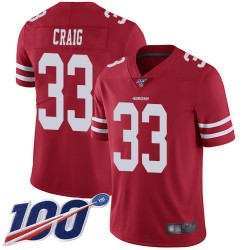 Limited Men's Roger Craig Red Home Jersey - #33 Football San Francisco 49ers 100th Season Vapor Untouchable