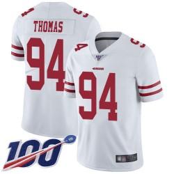 Limited Men's Solomon Thomas White Road Jersey - #94 Football San Francisco 49ers 100th Season Vapor Untouchable