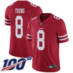 Limited Men's Steve Young Red Home Jersey - #8 Football San Francisco 49ers 100th Season Vapor Untouchable