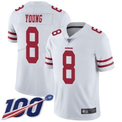 Limited Men's Steve Young White Road Jersey - #8 Football San Francisco 49ers 100th Season Vapor Untouchable