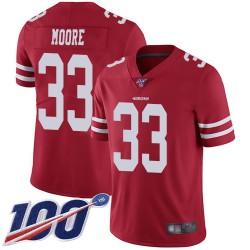 Limited Men's Tarvarius Moore Red Home Jersey - #33 Football San Francisco 49ers 100th Season Vapor Untouchable