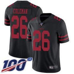Limited Men's Tevin Coleman Black Alternate Jersey - #26 Football San Francisco 49ers 100th Season Vapor Untouchable