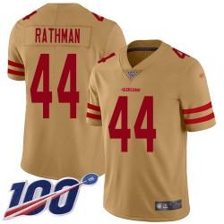 Limited Men's Tom Rathman Gold Jersey - #44 Football San Francisco 49ers 100th Season Inverted Legend