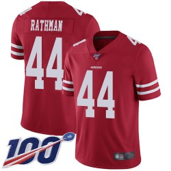 Limited Men's Tom Rathman Red Home Jersey - #44 Football San Francisco 49ers 100th Season Vapor Untouchable
