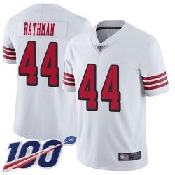 Limited Men's Tom Rathman White Jersey - #44 Football San Francisco 49ers 100th Season Rush Vapor Untouchable
