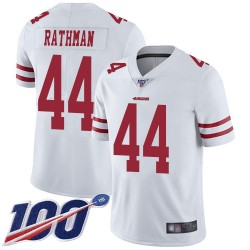 Limited Men's Tom Rathman White Road Jersey - #44 Football San Francisco 49ers 100th Season Vapor Untouchable