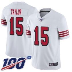 Limited Men's Trent Taylor White Jersey - #15 Football San Francisco 49ers 100th Season Rush Vapor Untouchable
