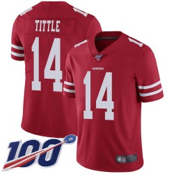 Limited Men's Y.A. Tittle Red Home Jersey - #14 Football San Francisco 49ers 100th Season Vapor Untouchable