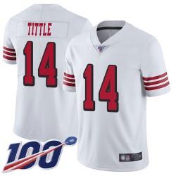 Limited Men's Y.A. Tittle White Jersey - #14 Football San Francisco 49ers 100th Season Rush Vapor Untouchable