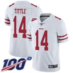 Limited Men's Y.A. Tittle White Road Jersey - #14 Football San Francisco 49ers 100th Season Vapor Untouchable
