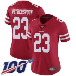 Limited Women's Ahkello Witherspoon Red Home Jersey - #23 Football San Francisco 49ers 100th Season Vapor Untouchable