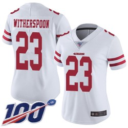 Limited Women's Ahkello Witherspoon White Road Jersey - #23 Football San Francisco 49ers 100th Season Vapor Untouchable