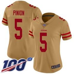 Limited Women's Bradley Pinion Gold Jersey - #5 Football San Francisco 49ers 100th Season Inverted Legend