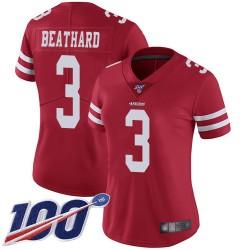 Limited Women's C. J. Beathard Red Home Jersey - #3 Football San Francisco 49ers 100th Season Vapor Untouchable