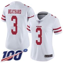 Limited Women's C. J. Beathard White Road Jersey - #3 Football San Francisco 49ers 100th Season Vapor Untouchable