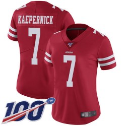 Limited Women's Colin Kaepernick Red Home Jersey - #7 Football San Francisco 49ers 100th Season Vapor Untouchable
