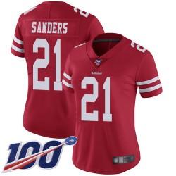 Limited Women's Deion Sanders Red Home Jersey - #21 Football San Francisco 49ers 100th Season Vapor Untouchable