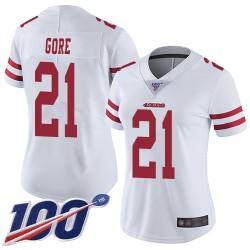 Limited Women's Frank Gore White Road Jersey - #21 Football San Francisco 49ers 100th Season Vapor Untouchable