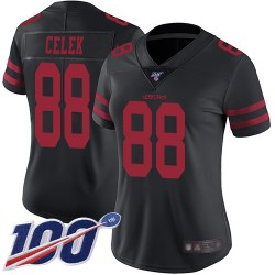 Limited Women's Garrett Celek Black Alternate Jersey - #88 Football San Francisco 49ers 100th Season Vapor Untouchable