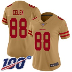 Limited Women's Garrett Celek Gold Jersey - #88 Football San Francisco 49ers 100th Season Inverted Legend