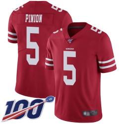 Limited Men's Bradley Pinion Red Home Jersey - #5 Football San Francisco 49ers 100th Season Vapor Untouchable